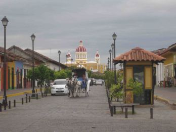 tourist street lined with restaurants
