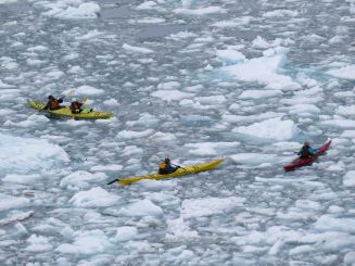 paddling in the brash ice - view from cliff