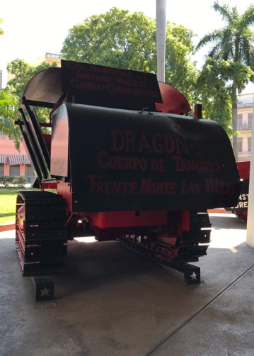 Armored vehicle made by sugar mill workers used by Cienfuegos
