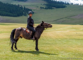 Page on her horse that she named George