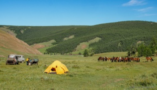 one of the cowboy's tents