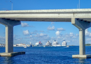 view of cruise ships from the Warwick