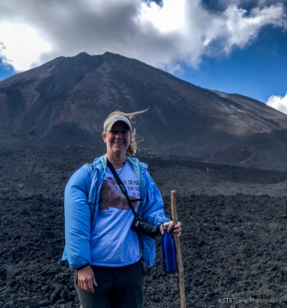 Pacaya Volcano - windy! Jacket is puffed up!