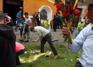locals picking up flowers