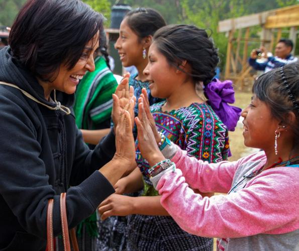 Vasu meeting the kids. Photo Cred: Vivi
